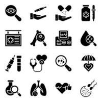 pacote de ícones sólidos de consulta médica e online vetor