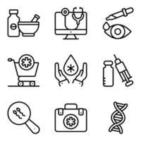 pacote de ícones lineares médicos e comerciais vetor