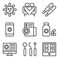pacote de ícones lineares de cuidados médicos vetor
