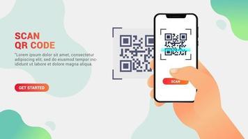 digitalizar código qr, telefone celular digitalizando um código qr vetor