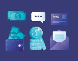 conjunto de ícones de banco online