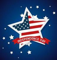 4 de julho feliz dia da independência com estrelas e bandeira dos EUA vetor