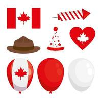 elementos de design do dia do Canadá, conjunto de vetores