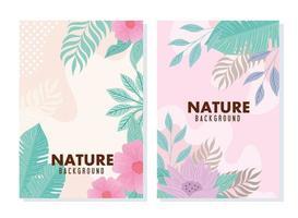 conjunto de cartas da natureza em cor pastel