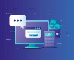 conceito de banco online com área de trabalho e ícones do computador vetor