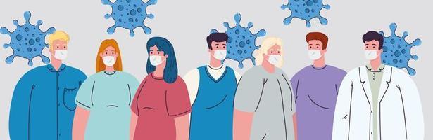grupo de pessoas usando máscaras médicas contra coronavírus