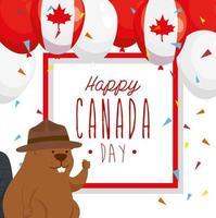 feliz dia canadense com castor e decoração vetor