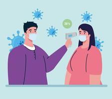 verificação de temperatura com termômetro infravermelho digital para pandemia de coronavírus vetor