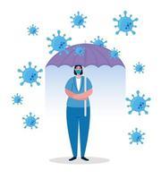 guarda-chuva protegendo mulher de negócios, conceito covid 19 de coronavírus imunológico vetor