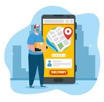 conceito de serviço de entrega online, durante coronavírus 2019 ncov, trabalhador com smartphone