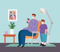 pai e filho em casa para quarentena de coronavírus vetor