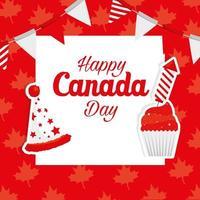 feliz dia canadense com decorações vetor
