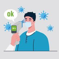 verificação de temperatura com termômetro infravermelho digital para pandemia de coronavírus