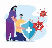 luta contra o conceito de coronavírus com casal segurando um escudo
