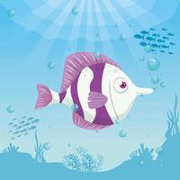 peixe fofo no oceano, morador do mundo marinho, criatura subaquática fofa