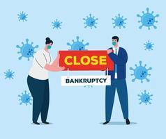colapso da economia do coronavírus com empresários segurando um cartaz
