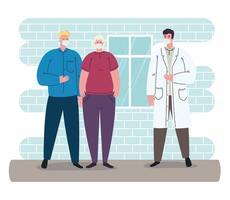 médico com um casal de velhos pacientes usando máscaras médicas contra coronavírus