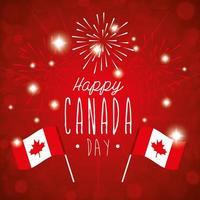 feliz dia canadense com bandeiras e fogos de artifício vetor