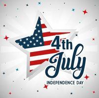 4 de julho feliz dia da independência com decoração vetor