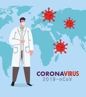 médico usando máscara médica contra coronavírus 2019 ncov com mapa mundial e partículas covid 19