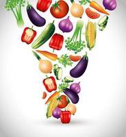vegetais orgânicos frescos, alimentos saudáveis, estilo de vida ou dieta saudável vetor