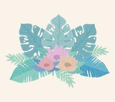 flores e folhas em tons pastel vetor