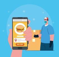 conceito de comércio eletrônico, peça comida online via aplicativo ou site vetor