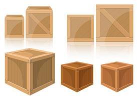 conjunto de ilustração vetorial de caixa de madeira isolado no fundo branco vetor