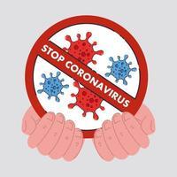 mãos com ícone de células de coronavírus em placa proibida vetor