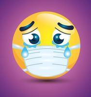Emoji chorando usando uma máscara facial vetor