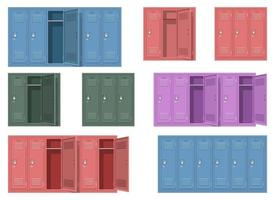 Ilustração em vetor armário escolar conjunto isolado no fundo branco