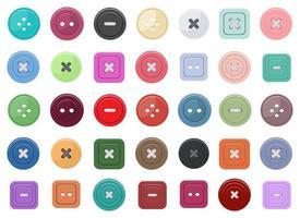 conjunto de ilustração vetorial de design de botões de roupas isolado no fundo branco vetor