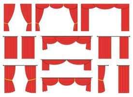 cortina de teatro desenho ilustração vetorial conjunto isolado no fundo branco vetor