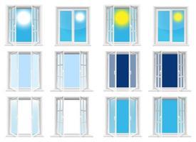 janelas transparentes e céu ensolarado vector design ilustração isolada no fundo branco