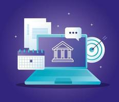 conceito de banco online com laptop e ícones