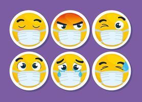 conjunto de emojis usando máscaras