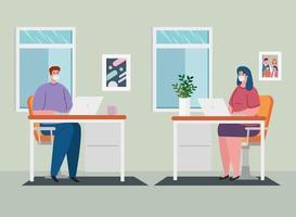 prevenção de coronavírus em home office com casal trabalhando