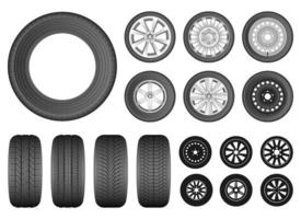 conjunto de ilustração de desenho vetorial de pneu de carro isolado no fundo branco vetor