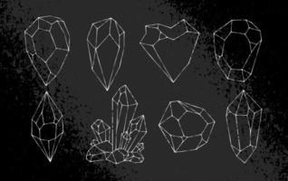 Conjunto de vetores de cristais desenhados à mão branca
