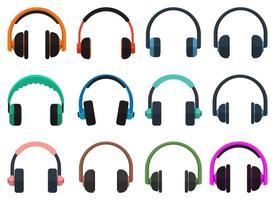 conjunto de ilustração vetorial de fones de ouvido isolado no fundo branco vetor