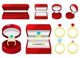 ilustração de desenho vetorial de anel de noivado conjunto isolado no fundo branco vetor