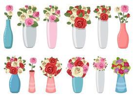 vaso com ilustração de desenho vetorial de flores isolado no fundo branco vetor