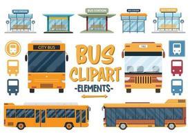 conjunto de clipart de viagens de ônibus. cidade, ônibus, ônibus, viagem, estação, apartamento, turismo, conjunto de transporte. vetor