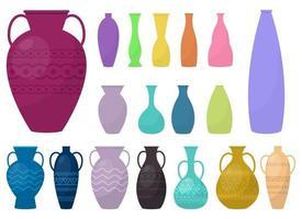 conjunto de ilustração vetorial conjunto de vasos isolado no fundo branco vetor