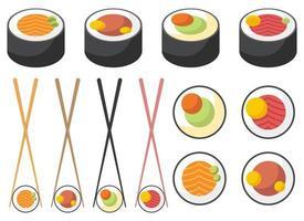 conjunto de ilustração vetorial sushi asiático isolado no fundo branco vetor