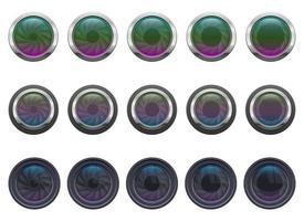 ilustração do projeto do vetor da lente da câmera conjunto isolado no fundo branco