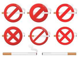 sinal de proibição de fumar conjunto de ilustração vetorial isolado no fundo branco vetor