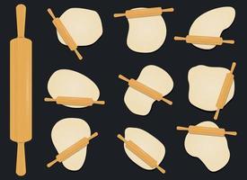 rolo de madeira na ilustração de desenho vetorial de massa isolada no fundo vetor
