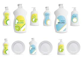 ilustração de desenho vetorial de garrafa de líquido para lavar louça conjunto isolado no fundo branco vetor