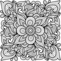 página do livro de colorir de ioga de meditação para adultos e crianças. decorativo redondo branco e preto. padrões orientais de terapia anti-estresse. emaranhado zen abstrato. ilustração em vetor ioga meditação.
